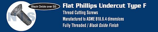 Phil Flat Undercut Thread Cutting Screw F Full Thread 18 8 Stainless Steel Black