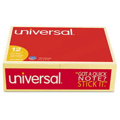 Universal® Standard Self-Stick Yellow Color Note Pads