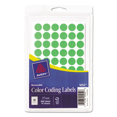 Avery® Handwrite Only Removable Round Color-Coding Labels