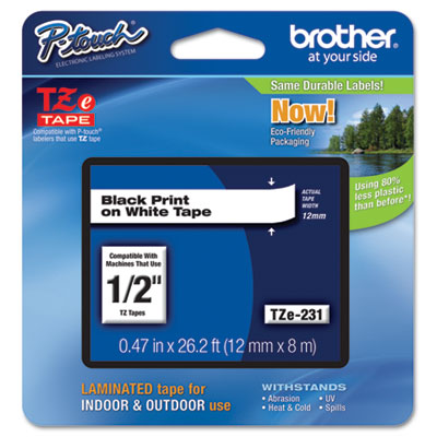 Brother® P-Touch® TZe Series Standard Adhesive Laminated Labeling Tape