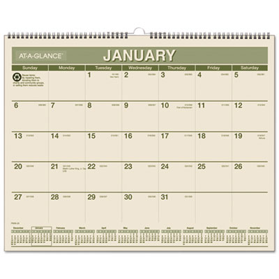 AT-A-GLANCE® Recycled Wall Calendar