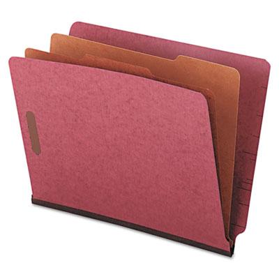 Universal® Red Pressboard End Tab Classification Folders
