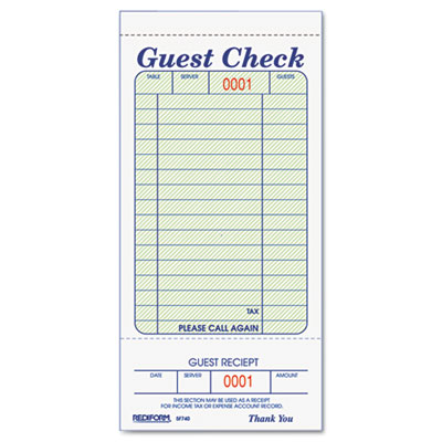 Amazing Rediformu0026reg; Guest Check Book On Guest Check Template