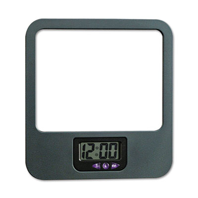 Universal One™ Recycled Plastic Cubicle Mirror with Clock