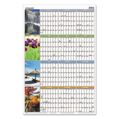 "AT-A-GLANCE® ""Seasons in Bloom"" Vertical/Horizontal Erasable Wall Planner"