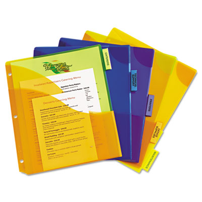 Avery® Insertable Big Tab™ Plastic Dividers with Three Pockets and Corner Lock™