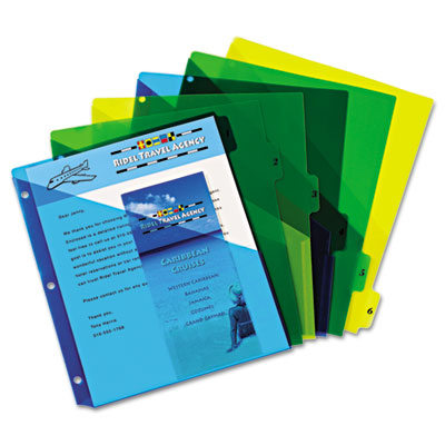 Avery® Preprinted Tab Plastic Dividers with Double Pockets