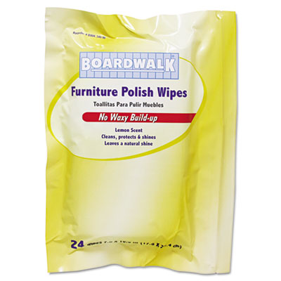 Boardwalk® Furniture Polish Wipes