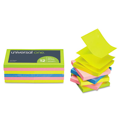 Universal One™ Fan-Folded Self-Stick Neon Color Pop-Up Note Pads