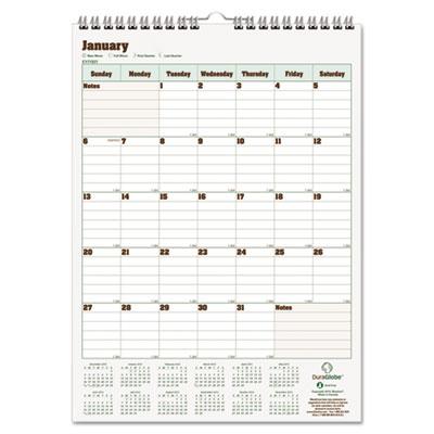 Blueline® DuraGlobe™ Monthly Wall Calendar