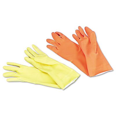 Boardwalk® Flock-Lined Latex Cleaning Gloves