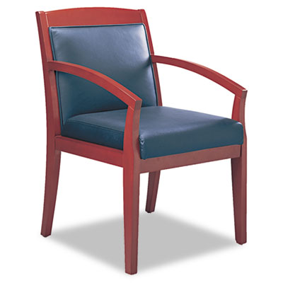 Mayline® Mercado™ Series Leather Seating Wood Guest Chair