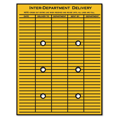 Quality park brown kraft string button interoffice for Interoffice mail envelope template