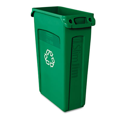 Rubbermaid® Commercial Slim Jim® Plastic Recycling Container with Venting Channels
