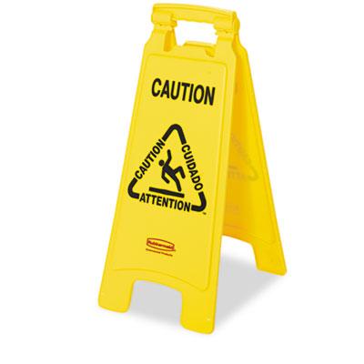 "Rubbermaid® Commercial Multilingual ""Caution"" Floor Sign"