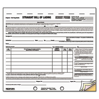 ... Short Form. Printable Version. Rediformu0026reg; Snap A Wayu0026reg; Bill Of  Lading, ...  Printable Bill Of Lading Short Form