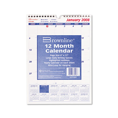 Brownline® Twin Wirebound Wall Calendar, One Month per Page
