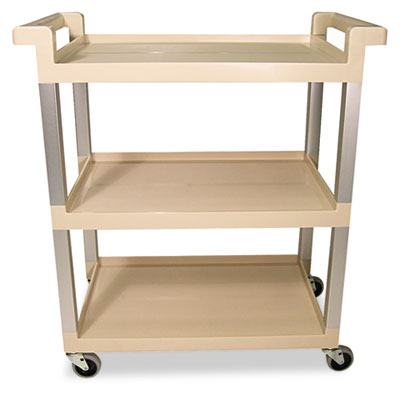 Rubbermaid® Commercial Three-Shelf Service Cart with Brushed Aluminum Uprights