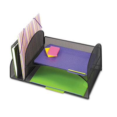 Safco® Onyx™ Mesh Desk Organizer with Two Vertical/Two Horizontal Sections