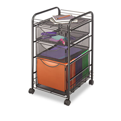 Safco® Onyx™ Mesh Mobile File with Two Supply Drawers