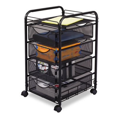 Safco® Onyx™ Mesh Mobile File with Four Supply Drawers