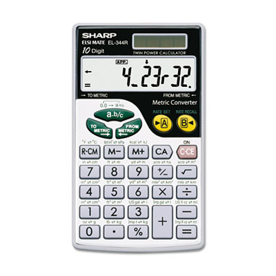 Sharp® EL344RB Metric Conversion Wallet Calculator