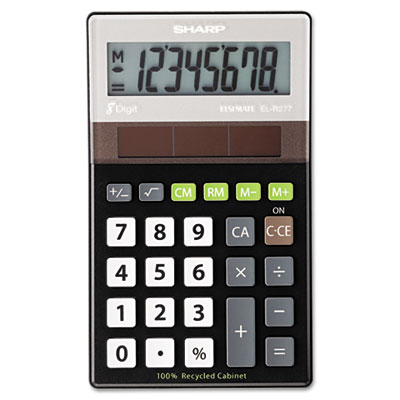 Sharp® EL-R277BBK Recycled Series Handheld Calculator