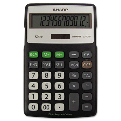 Sharp® EL-R287BBK Recycled Series Semi-Desk Display Calculator with Kickstand