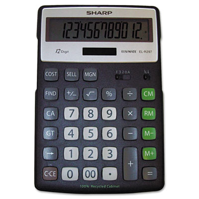Sharp® EL-R297BBK Recycled Series Semi-Desk Display Calculator with Kickstand