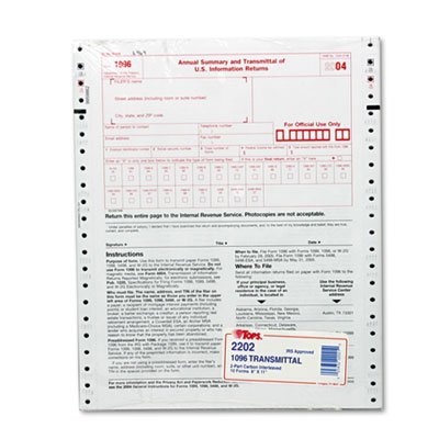 TOPS™ 1096 IRS Approved Tax Form at Nationwide Industrial Supply, LLC