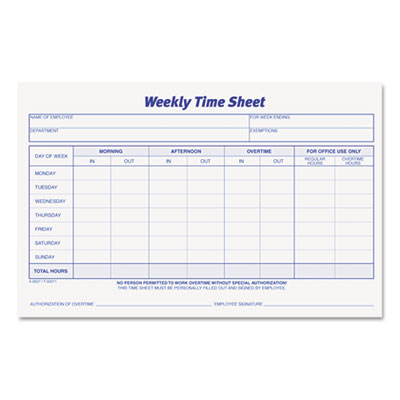 TOPS™ Weekly Time Sheets at Nationwide Industrial Supply, LLC