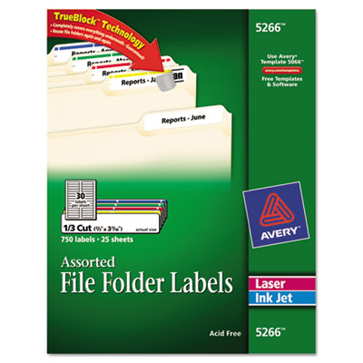 Avery® Permanent File Folder Labels with TrueBlock® Technology