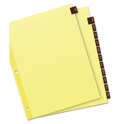 Avery® Preprinted Red Leather Tab Dividers with Clear Reinforced Binding Edge