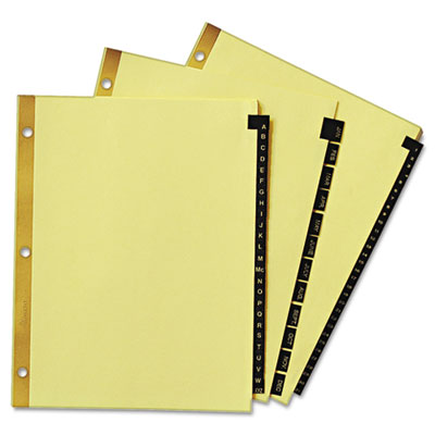 Avery® Preprinted Black Leather Tab Dividers with Gold Reinforced Binding Edge