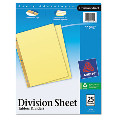 Avery® Untabbed Sheet Dividers