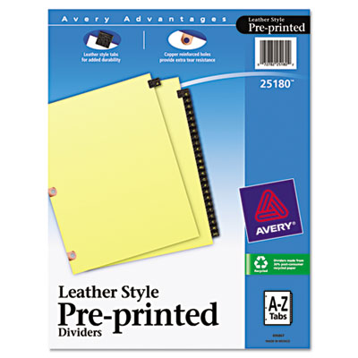 Avery® Preprinted Black Leather Tab Dividers with Copper Reinforced Holes