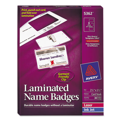 Avery® Self-Laminating Name Badges with Clips
