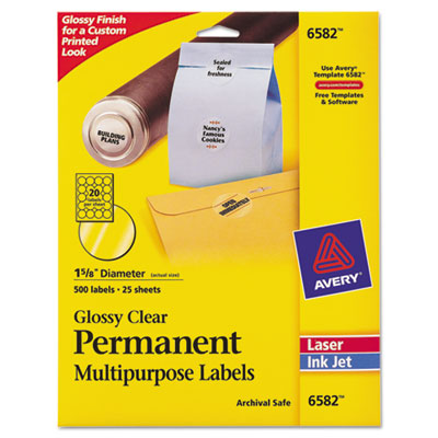 Avery® Round Glossy Clear Permanent Labels