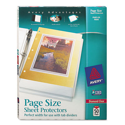 Avery® Page Size Heavyweight Three-Hole Punched Clear Sheet Protector