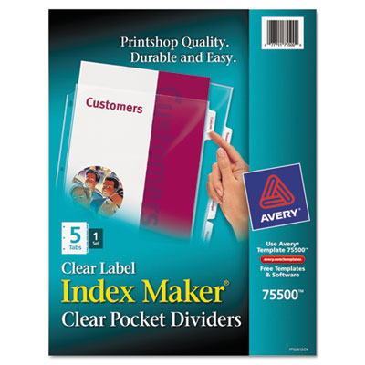 Avery® Index Maker® Print & Apply Clear Label Dividers with Clear Pockets