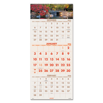AT-A-GLANCE® Scenic Three-Month Wall Calendar