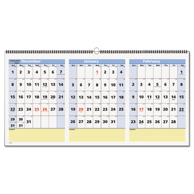 AT-A-GLANCE® QuickNotes® Three-Month Wall Calendar in Horizontal Format