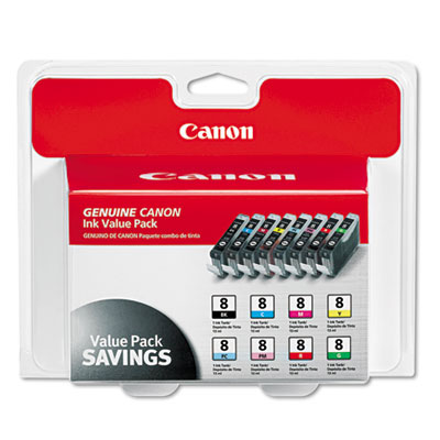Canon® 0620B015 (CLI-8) Eight-Color Multipack Ink Tank