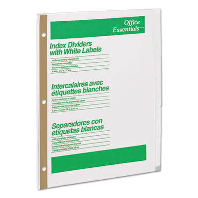 Office Essentials® Index Dividers with White Labels