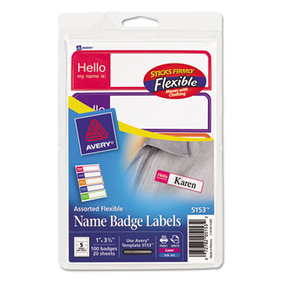 Avery® Flexible Self-Adhesive Mini Name Badge Labels