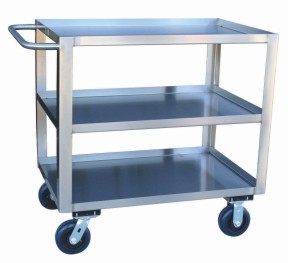 Model YN - Stainless Service Cart with Standard Handle - 3 Shelves
