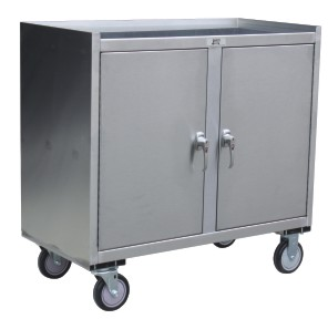Mobile Closed Cabinet with Middle Shelf